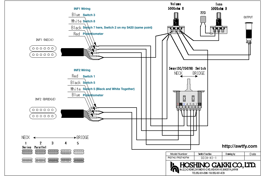 wiring diagram two single coil pickups wirdig